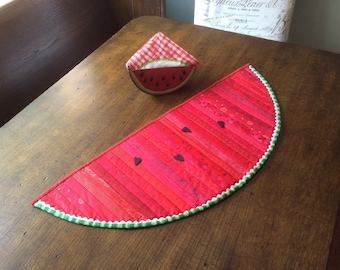 Watermelon Table Topper - Hand Made Item - Ready to ship- Red - Home Decor - Summer Decorations- Quilt for Sale