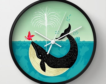 The Bird and The Whale - illustrated wall clock - by Oliver Lake