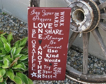 Subway wood sign,  Family Rules, with a Distressed Finish