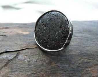 Mother, Mothers Day Gift, black volcanic lava ring, Unique Valentine Gft, Adjustable Love Ring, Handmade Art Jewelry,  ring by MARIAELA