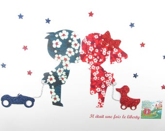 Applied shape in your little boy and girl in love fabric liberty Mitsi blue Mitsi valeria red patch iron on patches