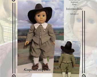 "PDF Pattern KDD-24 ""Pilgrim Boy""- An Original KeepersDollyDuds Design, 18"" Doll Clothes"