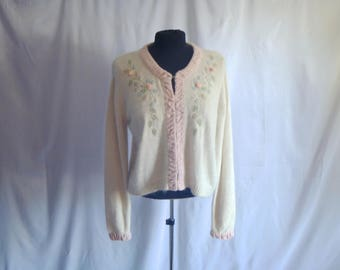 Vintage 80's Kitschy Silk and Angora Librarian Cardigan Sweater with Emroidered Roses by my® Size Large