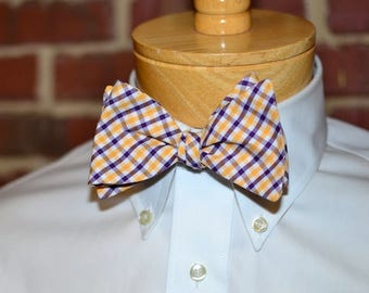 Purple & Gold Tattersall Bow Tie~Mens Self Tie Bow Tie~Mens Pre-Tied~Anniversary Gift~HoBo Ties~Cotton Bow Tie~Wedding~LSU Bow Tie
