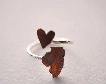 Illinois Twist Place Ring (Sterling Silver & Copper Place State Love Map Ring)