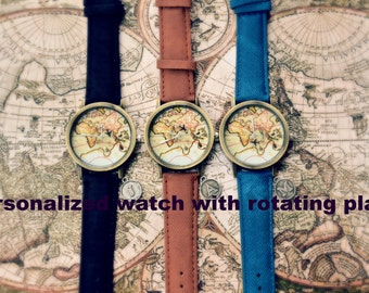 Vacation sale 20% Unisex watch, Personilised unique design with rotating plane,map watch,world map watch,uur,world watch