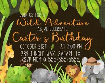 Safari Birthday Party Invitation, Digital