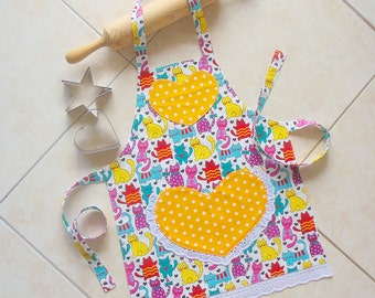 Kids/Toddlers Apron Cats, girls kitchen craft art play apron, cats & polka dots on yellow hearts, child lined cotton apron with heart pocket