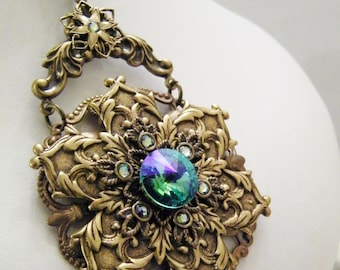 Winter Wonderland Snow Flake Aqua Rainbow 3 Dimensional Edwardian Victorian Art Deco Cosplay Pendant Necklace