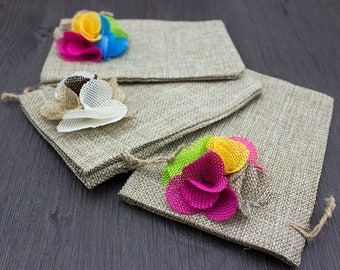 Thank You Bags, Wedding Favor Bags, Jute Bags, small gift bags with flower (10pcs/ Pack)