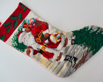 vintage needlepoint CHRISTMAS STOCKING with Old World Santa, toys, snow, holly
