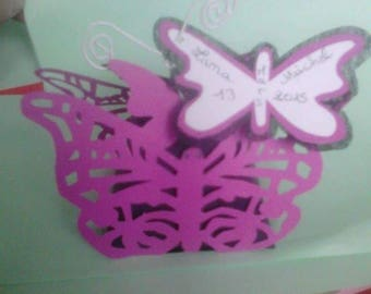 Box has lozenge butterflies with tags black white Fuchsia
