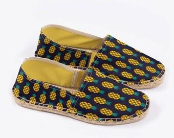 Disco Pineapple Unisex Espadrilles in Midnight – Suzie London handmade 70s retro espadrille summer festival sandals with yellow lining