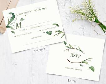 Greenery Wedding RSVP, Green Leaf Response Card, Botanical Rsvp, INSTANT DOWNLOAD, editable file, Christine & Harold Collection