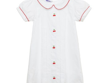Embroidered Cherries Collared Dress