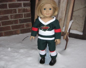 "Wild Hockey Uniform for American Girl Dolls & Other 18"" Dolls and also able to duplicate most teams upon request"