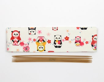 "Panda DPN holder, 20cm / 8"" DPN cozy, cute sock needle keeper"