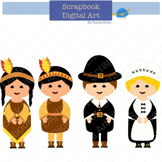 pilgrims and indians digital clip art thanksgiving clip art rh etsy com Feast Clip Art pilgrim and indian clipart