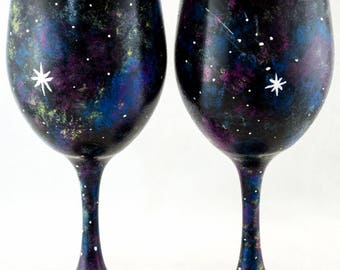 Wine Glasses - 20 oz - Each or Set of 2 or 4 - Cosmos Design - Hand Painted