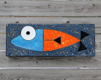 fish tile, ceramic fish tile, fish painting, handmade tile, fish art, ceramic wall tile