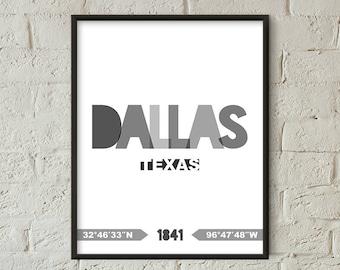 Dallas Print, Dallas Printable, Dallas Poster, Dallas Wall Art, Dallas Coordinates, Dallas Minimalist (W0214)