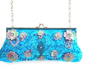 Handpainted purse, blue silk clutch, blue lace clutch, wedding bridal beaded purse clutch, hand embroidery, prom purse, maid of honour bags