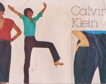 80s Calvin Klein Womens Exact Fit Jeans and Skirt Vogue Sewing Pattern 2442 Size 10 Hip 37 UnCut Vogue American Designer Pattern
