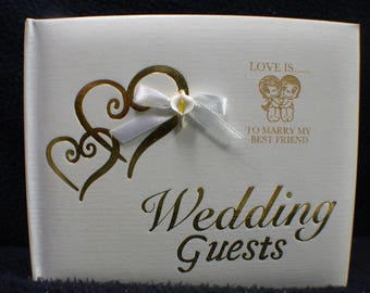 "Wedding Guest BOOK LOVE IS.... To Marry my best Friend"" adorable Laser engraved"
