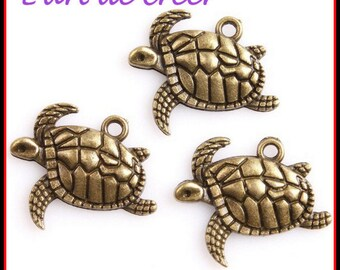 6 charms turtle charm bronze 21 x 17 x 3 mm