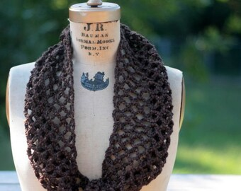 Infinity winter scarf, lacy cowl brown