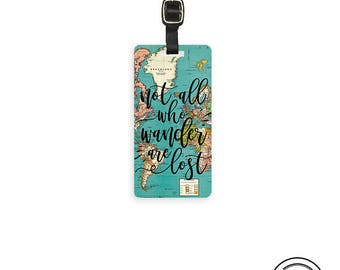 Luggage Tag Not All who Wander are Lost Vintage Map Metal Luggage Tag  With Printed Custom Info On Back, Single Tag