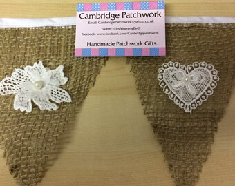 Loose Weave Hessian and Lace Weddding Bunting per metre