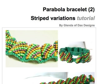 Parabola Waves beaded cuff bracelet: Striped variation - Instant Downloadable Pattern PDF File