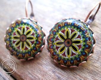 Italian Jewelry, Statement Earrings, Italian pottery design, Wanderlust earrings, Handmade, copper lever back hook earrings, folk art