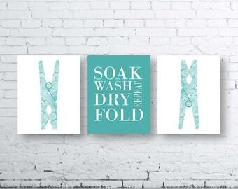 Laundry Wall Art Print. Set of Three (3)-Instant Download. Peg Wall Art. Soak Wash Dry Fold Repeat. Laundry Printable Art.Laundry Decor.