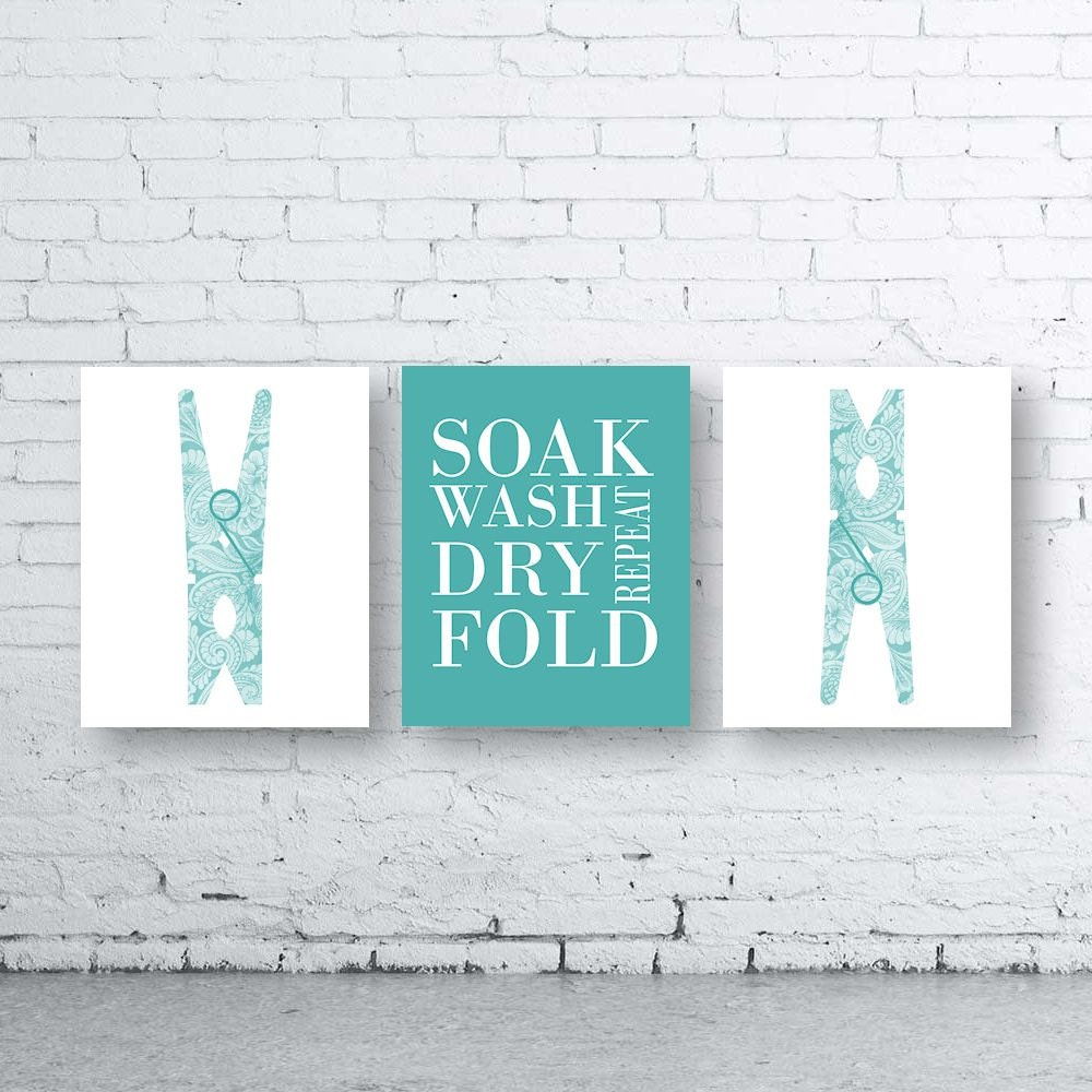 Laundry Art Laundry Wall Art Printset Of Three 3Instant Downloadpeg