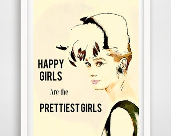 Audrey Hepburn quote, Happy girls are the prettiest girls, gift for her, audrey wall art, audrey wall decor, Hepburn print