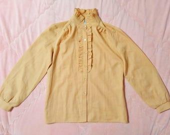 70s Vintage Pastel Peach Orange Blouse Shirt, Vintage 70s Button Up Blouse, 70s Vintage Pastel Blouse, Vintage Peach Blouse