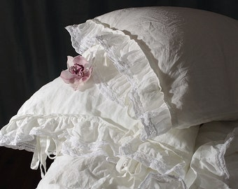 "Pure linen pillowcase 'Madeleine' with ruffle and ties. Linen bedding, 20x24"" 20x26"" 26x26"" 20x30"" 20x36"" white linen french style bedding"