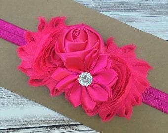 Baby flower headband - pink baby headband - girls headband - shabby chic headband - girls hair band - girls headband - baby hair band