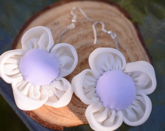 Hand Made Flora Earrings - Purple White