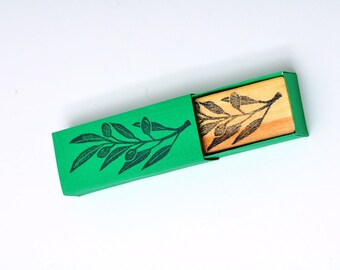 Olive branch  Hand carved rubber stamp