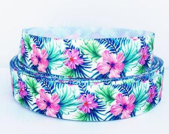 "Hibiscus Grosgrain Ribbon - Tropical Flower Ribbon - Hawaiian Flower - 1"" Printed Grosgrain Ribbon"