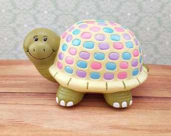 Pastel Colored Turtle Piggy Bank, Turtle Piggy Bank, Piggy Bank, Bank, Baby Bank, Baby Shower Gift, Turtle Bank, Piggy Bank for Kids