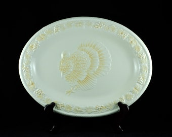 Vintage Embossed Ceramic Turkey Platter