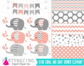 Coral Baby Elephant Clipart Set, Grey Chevron, Shower Sprinkle Water, Cute Nursery, Digital Paper Pack, Shower Set -D188