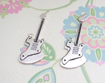 2 or 4 pcs - Silver Electric Guitar Charm