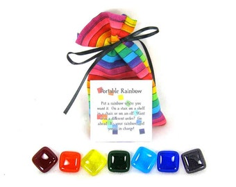 Portable Rainbow, Glass Rainbow Tiles with Rainbow Bag