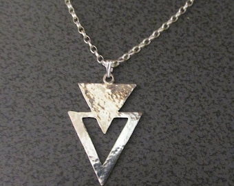 925 Sterling Silver Pendant and Chain... Hammered Double Triangles .....Handmade