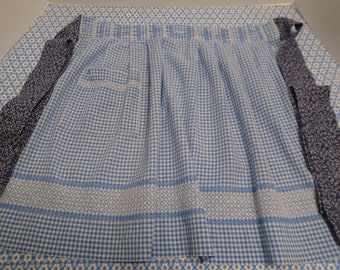 Vintage Blue & White Chicken Scratch Embroidered Gingham Apron